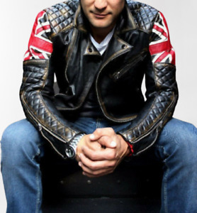 MOTERO Men's UK Flag Double Breast Distressed CE Armoured Biker Leather Jacket