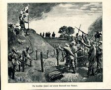 Deutsche Fahne auf Vorwerk von Namur -- WK.1914- Zeitungsausschnitt-- aus 1914