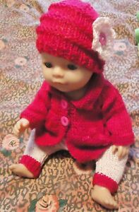 Dark Pink Cardigan/Top Trousers w Beanie Baby Born Knitted Clothes Doll 38-42cm
