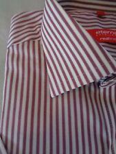 Eterna excellent Hemd L 41/42 Neuw. bordeaux /Rot weiß gestreift Kurzarm Hemd