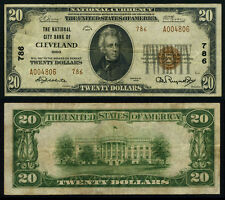 Cleveland OH $20 1929 T-2 National Bank Note Ch #786 National City Bank Very F+