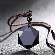Charm Women Men Necklace Obsidian Stone Pendant Jewelry Sweater Chain Ornaments