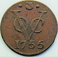 1755 NETHERLANDS EAST INDIES , Copper Duit grading VERY FINE.