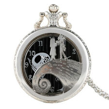 Men Women Silver Pocket Watch The Nightmare Before Christmas Necklace Retro Gift