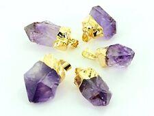 Raw Amethyst Point Pendant Gold Gemstone Specimen Reiki Chakra Crystal Heal.One.