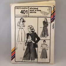 Stretch Sew Pattern 401 ladies Divided and A-Line Skirts hips 30 to 46 Vtg 1981