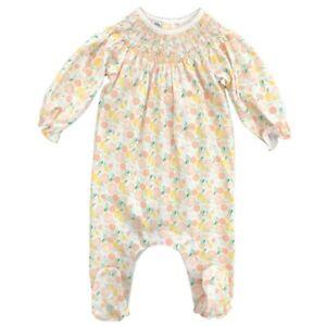 Magnolia Baby Girl CITRUS BOUQUET Bishop Smocked Footie + Hat Size Preemie  NEW