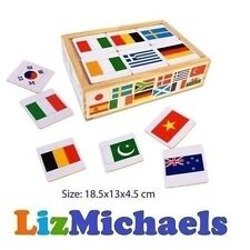 FUN FACTORY 48PCS WOODEN FLAGS OF THE WORLD KIDS PICTURE MEMORY MATCHING GAME