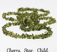 Polished genuine natural untreated green peridot bead necklace c1940's
