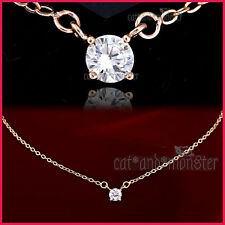 18K ROSE GOLD GF SOLITAIRE 1.5CT SIGNITY DIAMOND LADIES WEDDING PENDANT NECKLACE