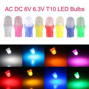 100Pcs AC DC 6V 6.3V T10 W5W 2825 158 192 168 194 LED Wedge Side Light bulbs