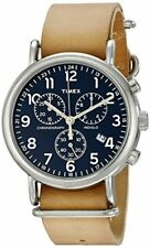 Timex Weekend Blue Dial Brass Leather Chrono Quartz Men's Watch TW2P62300