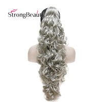 Long Wavy Gray Red Clip In/On Hair Extensions Piece Curly Claw Ponytail Colorful