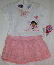 NICK JR Infant Girls 12M 12 Months DORA  2 pc White Tee Top Pink Lace Skort NWT