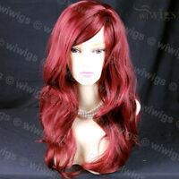Wiwigs Wonderful Long Burgundy Red Wavy Skin Top Heat Resistant Ladies Wig