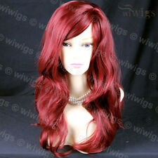 Long Burgundy Red Wavy Skin Top Wonderful Heat Resistant Ladies Wig From WIWIGS