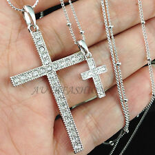 Womens BIG Double Cross Pendant LONG Necklace Chain Crystal Silver Plated P85
