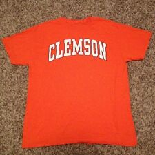 Clemson Tigers Short Sleeve Men's Large Orange Shirt Classic White & Purple Text