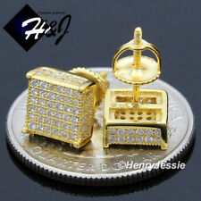 MEN 925 STERLING SILVER LAB DIAMOND 8MM SQUARE GOLD SCREW BACK STUD EARRING*G149