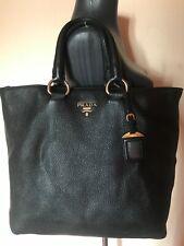 Prada Vitello daino tote 2 way shagreen black leather shoulder bag