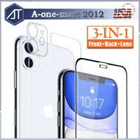 For iPhone 11 Pro Max Full Cover Tempered Glass Screen Protector Lens+Front+Back