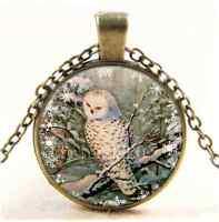 Vintage SNOWY OWL Photo Cabochon Glass Bronze Chain Pendant Necklace