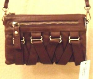 NWT FOLLIS VIBE BROWN Leather zip Cross Body bag purse w/ front lace up