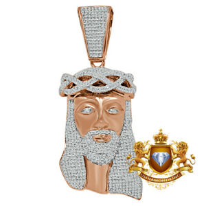 Big 2.85'' Real Rose Gold Over Sterling Silver Jesus Piece Diamond Charm Pendent