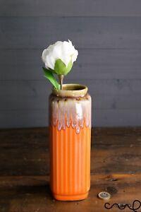 Handmade Orange Ceramic Square Flower Vase Home Glossy Gift Rectangle Decorative