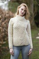 Ladies Aran Irish Cable Knit Side Zip Jacket Z4630 Made in Ireland Aran Crafts