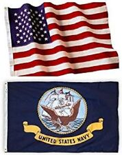 Wholesale Combo Lot 3x5 ft USA Flag & US Navy Ship 3x5 ft (2 Flags) Banner