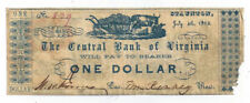 1862 The Central Bank of Virginia, Staunton - $1 Note on Recycled Paper No.829
