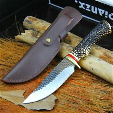 Hunting Handmade Knife Forged Steel Tactical Hammered Blade Leather Deer Horn XS