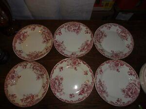 CLAIREFONTAINE modèle PAVOTS 19e : 6 assiettes plates rouge art nouveau MAXI 36
