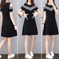 Women Summer Off Shoulder Dress Short Sleeves Slim Middle Casual A-Line Dress