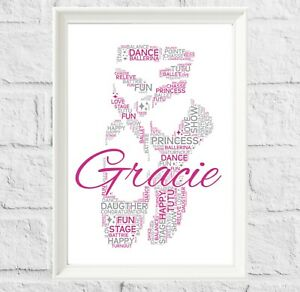 Personalised Ballet Dancer Gifts Print For Ballerina Birthday Christmas
