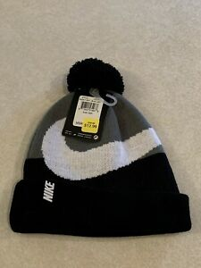 Nike Boy's Youth Size 8-20 Gray Black White Swoosh Pom Pom Hat NWT