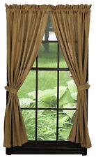 "Burlap Natural Tan Short Panel Curtains - 63""L"