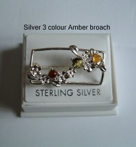 925 Silver Amber 3 colour Brooch  pin Sterling silver boxed gift.