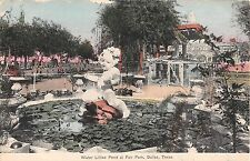 c.1908 Figural Fountain Water Lillies Pond Fair Park Dallas TX post card