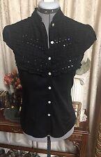 100% Cotton Black Boho Blouse Top Shirt Size M