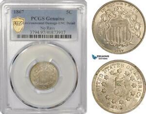 AG110, United States, Shield Nickel 1867, Philadelphia, No Rays, PCGS UNC Det.