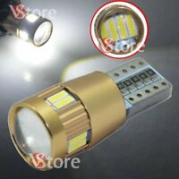 2 LED Lente T10 12SMD Lampade HID Canbus 4014 BIANCO Luci Posizione Interni Car