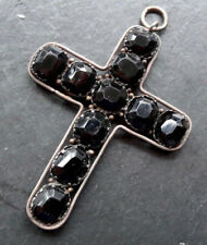 "antique Victorian 2.5"" SILVER jet black glass cross pendant for necklace -N217"