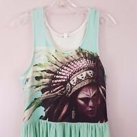 Lily Whyt Dress SZ 12 Indian Print Bodice Green Boho Gypsy Festival Fully Lined