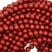 "Red Coral Round Beads Gemstone 15.5"" Strand 2mm 4mm 6mm 8mm 10mm"