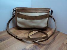 Brahim Creme and Tan Leather Shoulder Bag/Cross Body, VINTAGE, GREAT CONDITION