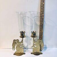 Vintage Solid Brass Angel Candle Holder Angle Taper or Votive Candleholders Set