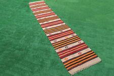Turkish Rug 28''x150'& #039; Oriental Rug Runner Kilim Corridor Kilim Hallway Rug