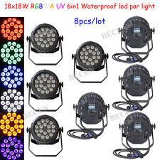 Waterproof 18X18W 6IN1 RGBWA UV LED par light IP65 par can light 8pcs